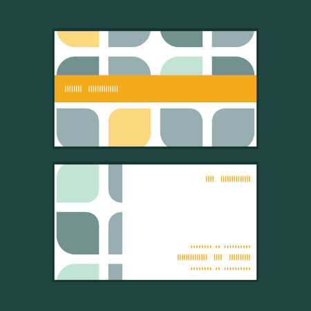 business cards: Vector abstract gray yellow rounded squares horizontal stripe frame pattern business cards set