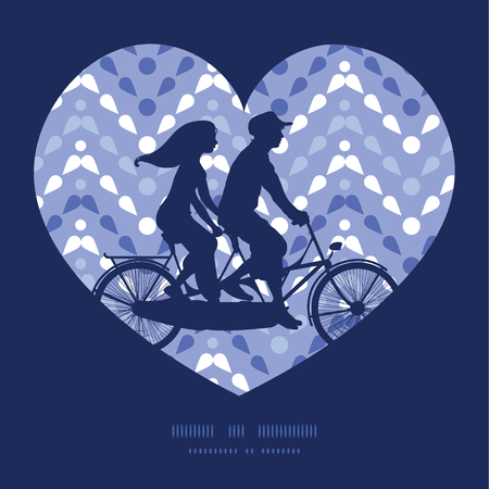 Vector purple drops chevron couple on tandem bicycle heart silhouette frame pattern greeting card template