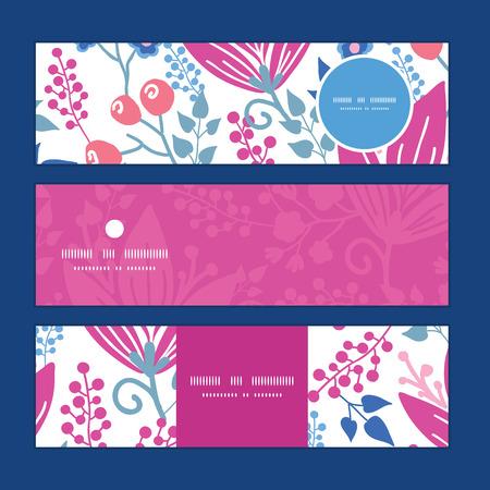 flowers horizontal: Vector pink flowers horizontal banners set pattern background Illustration