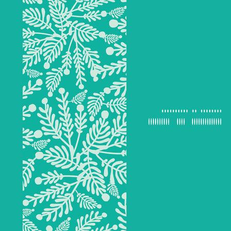 Vector emerald green plants vertical frame seamless pattern background