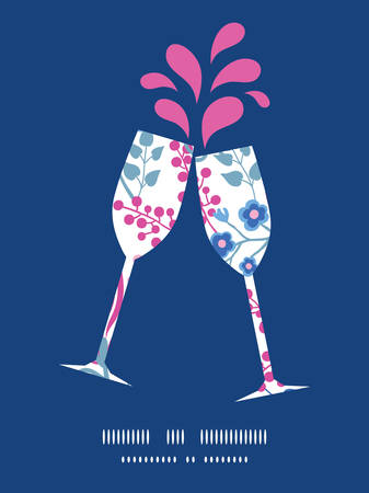 toasting wine: Vector pink flowers toasting wine glasses silhouettes pattern frame