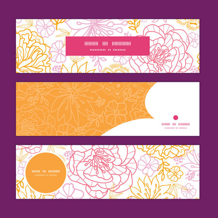 Vector flowers outlined horizontal banners set pattern background Vector