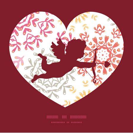 Vector folk floral circles abstract shooting cupid silhouette frame pattern invitation greeting card template