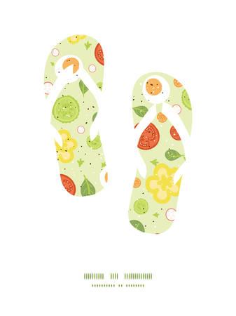 spinach salad: Vector fresh salad flip flops silhouettes pattern frame Illustration