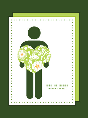 Vector green and golden garden silhouettes man in love silhouette frame pattern invitation greeting card template Vector