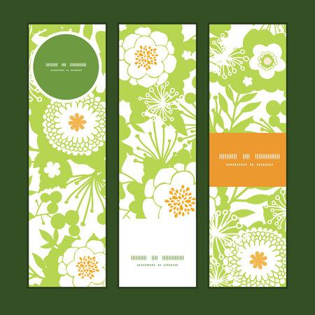 vertical garden: Vector green and golden garden silhouettes vertical banners set pattern background