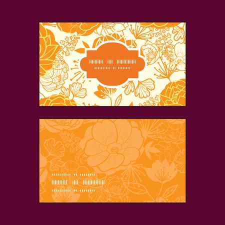 flowers horizontal: Vector golden art flowers horizontal frame pattern business cards set