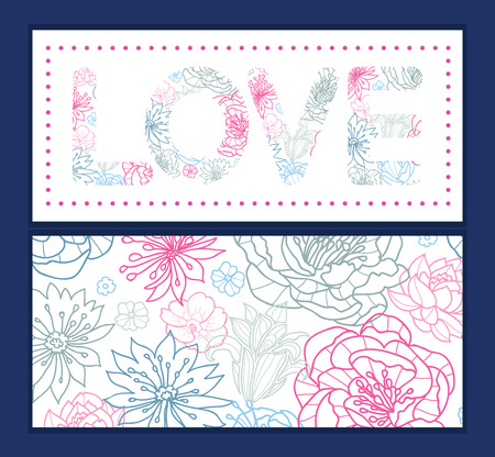 Vector gray and pink lineart florals love text frame pattern invitation greeting card template Vector