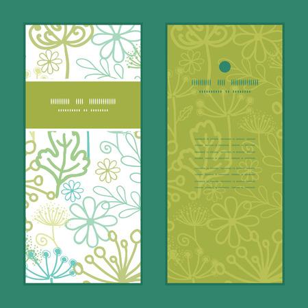 vertical garden: Vector mysterious green garden vertical frame pattern invitation greeting cards set