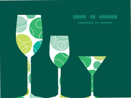 oval  alcohol: Vector abstract green circles three wine glasses silhouettes pattern frame