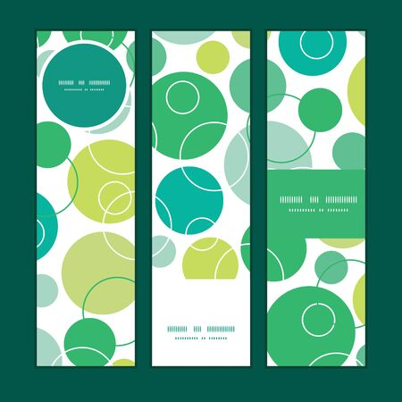 Vector abstract green circles vertical banners set pattern background