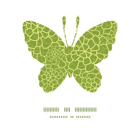 Vector abstract green natural texture butterfly silhouette pattern frame