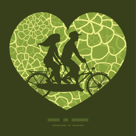 postcard: Vector abstract green natural texture couple on tandem bicycle heart silhouette frame pattern greeting card template Illustration