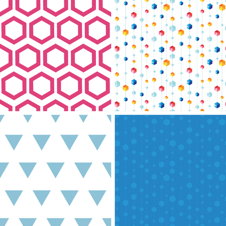 Vector abstract hanging jewels striped set of four marching seamless patterns backgrounds Vector