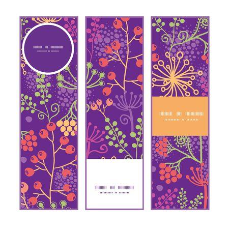 vertical garden: Vector colorful garden plants vertical banners set pattern background
