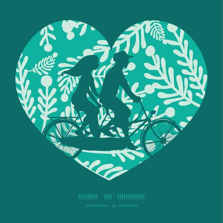 Vector emerald green plants couple on tandem bicycle heart silhouette frame pattern greeting card template