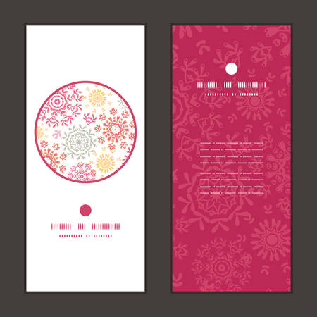 Vector folk floral circles abstract vertical round frame pattern invitation greeting cards set