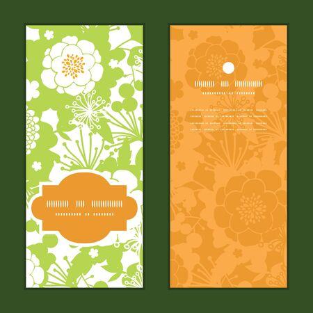 vertical garden: Vector green and golden garden silhouettes vertical frame pattern invitation greeting cards set