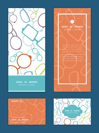 rsvp: Vector colorful glasses vertical frame pattern invitation greeting, RSVP and thank you cards set