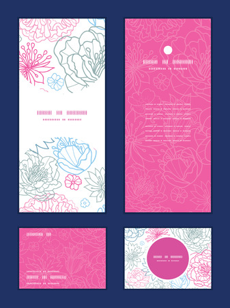 rsvp: Vector gray and pink lineart florals vertical frame pattern invitation greeting, RSVP and thank you cards set Illustration