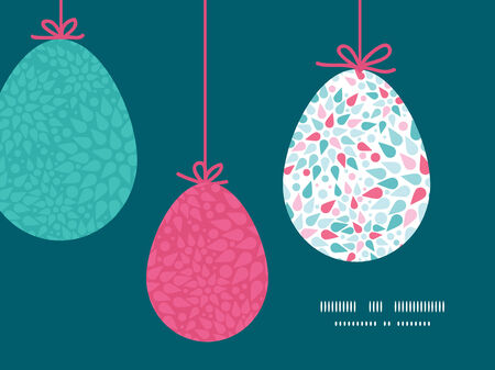 Vector abstract colorful drops hanging Easter eggs ornaments sillhouettes frame card template Vector