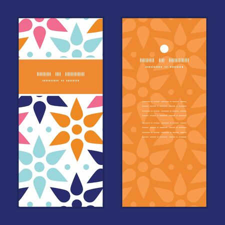 postcard: Vector abstract colorful stars vertical frame pattern invitation greeting cards set Illustration