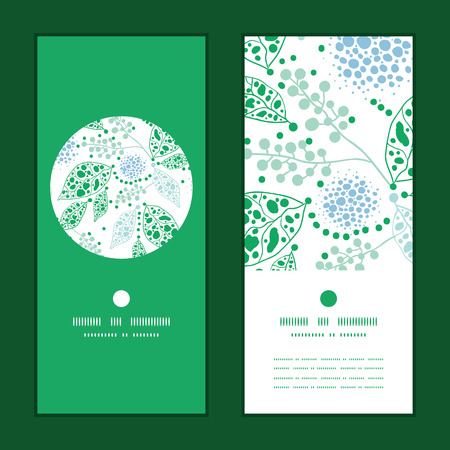Vector abstract blue and green leaves vertical round frame pattern invitation greeting cards set