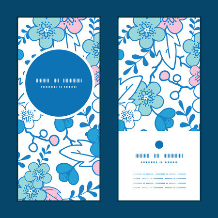Vector blue and pink kimono blossoms vertical round frame pattern invitation greeting cards set Illustration