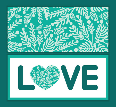 emerald: Vector emerald green plants love text frame pattern invitation greeting card template