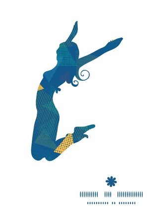 jumping girl: Vector abstract fabric triangles jumping girl silhouette pattern frame Illustration