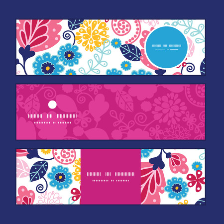 flowers horizontal: Vector fairytale flowers horizontal banners set pattern background