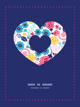 Vector fairytale flowers heart symbol frame pattern invitation greeting card template Vector