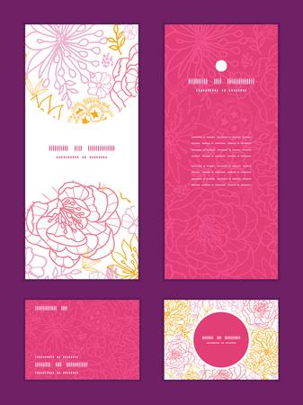 merci: fleurs vectorielles d�crites verticale motif d'encadrement invitation salutation, RSVP et vous remercient cartes �tablies