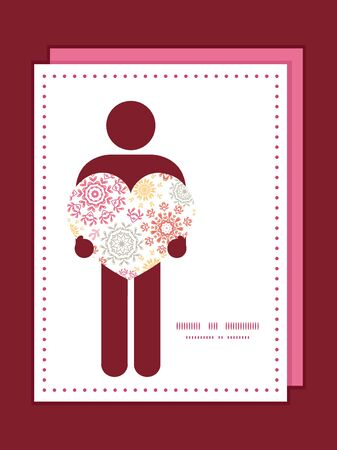 Vector folk floral circles abstract man in love silhouette frame pattern invitation greeting card template Vector