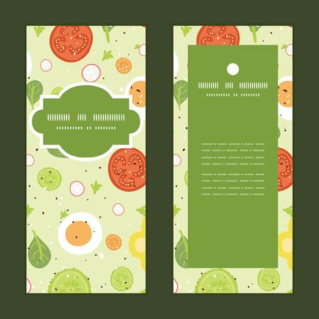 Vector fresh salad vertical frame pattern invitation greeting cards set