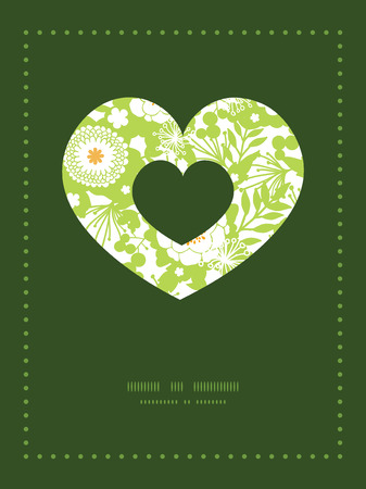 Vector green and golden garden silhouettes heart symbol frame pattern invitation greeting card template