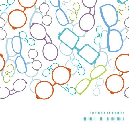 Vector colorful glasses horizontal frame seamless pattern background Stock Illustratie