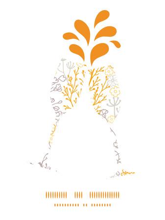 Vector magical floral toasting wine glasses silhouettes pattern frame Ilustração