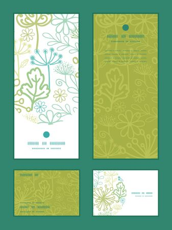vertical garden: Vector mysterious green garden vertical frame pattern invitation greeting, RSVP and thank you cards set Illustration