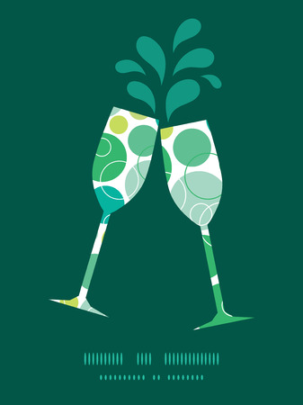 toasting wine: Vector abstract green circles toasting wine glasses silhouettes pattern frame Illustration