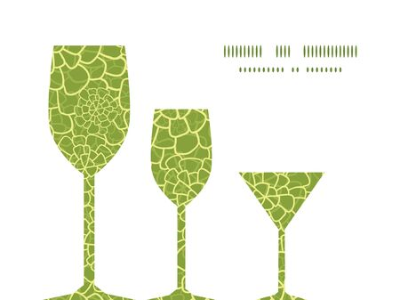 Vector abstract green natural texture three wine glasses silhouettes pattern frame