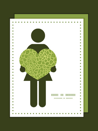 Vector abstract green natural texture woman in love silhouette frame pattern invitation greeting card template Illustration