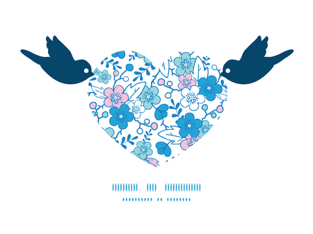 Vector blue and pink kimono blossoms birds holding heart silhouette frame pattern invitation greeting card template Vector