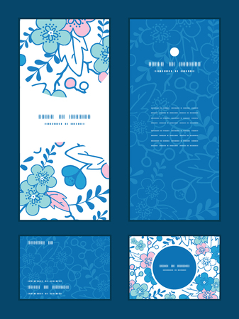 blank card: Vector blue and pink kimono blossoms vertical frame pattern invitation greeting, RSVP and thank you cards set