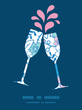 Vector blue and pink kimono blossoms toasting wine glasses silhouettes pattern frame