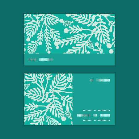 Vector emerald green plants horizontal stripe frame pattern business cards set Illustration