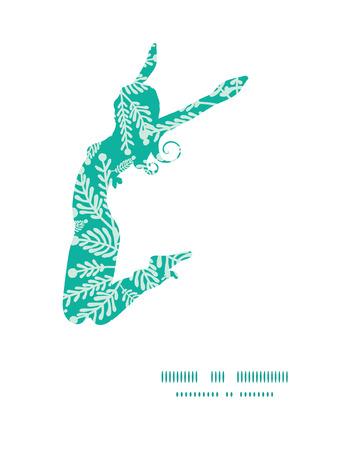 jumping girl: Vector emerald green plants jumping girl silhouette pattern frame
