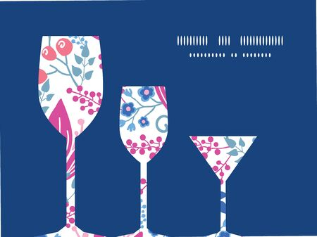 Vector pink flowers three wine glasses silhouettes pattern frame