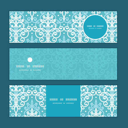 website header: Vector light blue swirls damask horizontal banners set pattern background Illustration