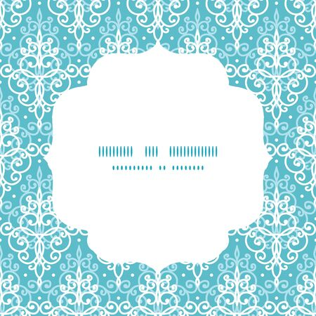 Vector light blue swirls damask circle frame seamless pattern background Çizim